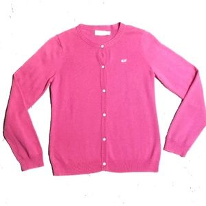 Vineyard Vines Girls Cardigan Sweater L 14 Pink
